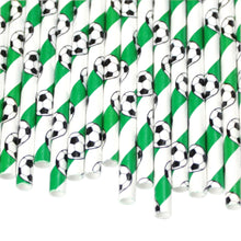 Load image into Gallery viewer, Individually Wrapped Football Paper Straws (6mm x 200mm) - Intrinsic Paper Straws