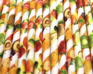Fruity Paper Straws (6mm x 200mm) - Biodegradable / Eco-Friendly / Food Safe - Intrinsic Paper Straws