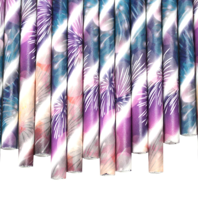 Fireworks Paper Straws (6mm x 200mm) - Biodegradable / Eco-Friendly / Food Safe - Intrinsic Paper Straws