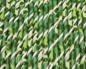 Green Camo Paper Straws (6mm x 200mm) - Biodegradable / Eco-Friendly / Food Safe - Intrinsic Paper Straws