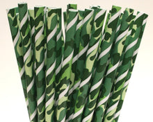 Load image into Gallery viewer, Green Camo Paper Straws (6mm x 200mm) - Biodegradable / Eco-Friendly / Food Safe - Intrinsic Paper Straws