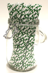 Green Striped & White Spotted Paper Straws (6mm x 200mm) - Biodegradable / Eco-Friendly / Food Safe - Intrinsic Paper Straws