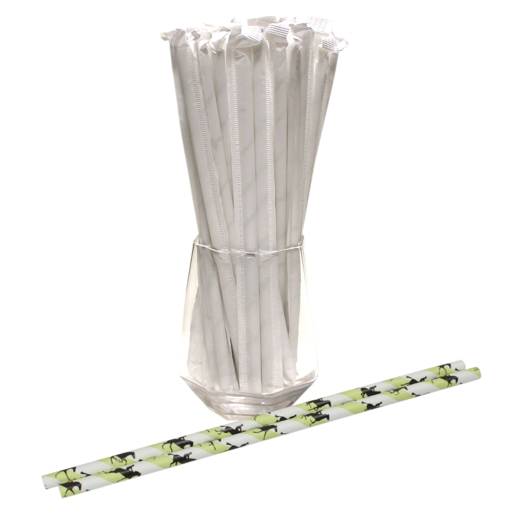 Individually Wrapped Horse Racing Paper Straws (6mm x 200mm) - Intrinsic Paper Straws