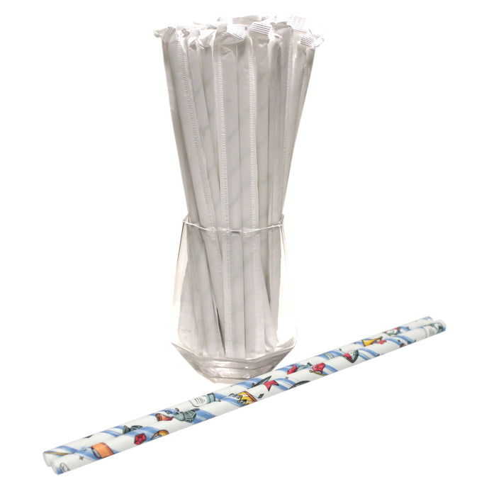 Individually Wrapped Knights Paper Straws (6mm x 200mm) - Biodegradable / Eco-Friendly / Food Safe - Intrinsic Paper Straws