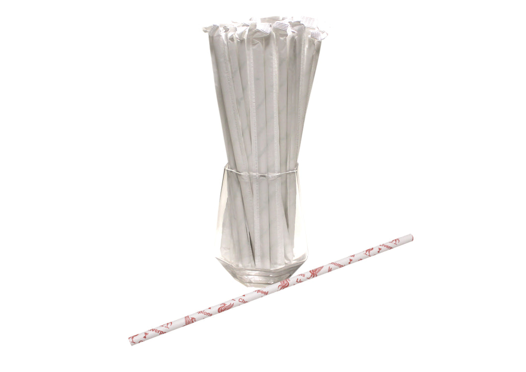 Individually Wrapped Liverpool Paper Straws - Champions (6mm x 200mm) - Biodegradable / Eco-Friendly / Food Safe - Intrinsic Paper Straws