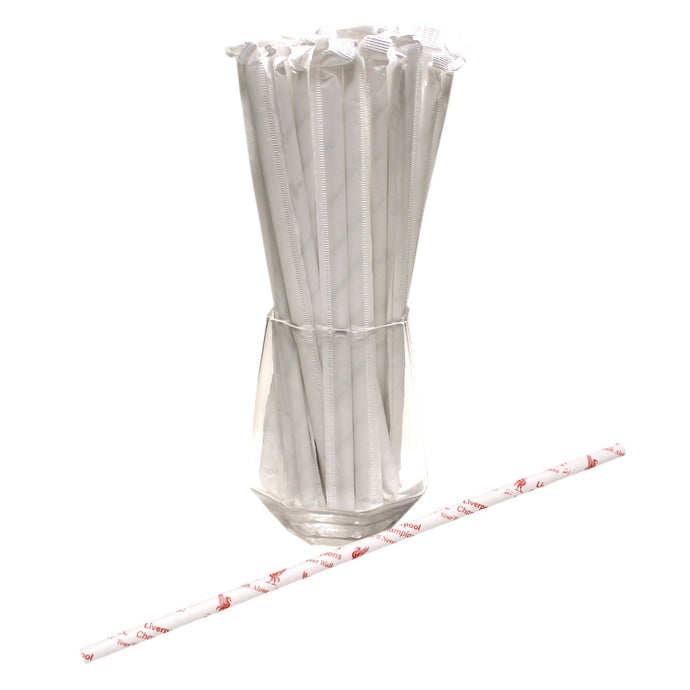 Individually Wrapped Liverpool Paper Straws - Champions / You'll Never Walk Alone (6mm x 200mm) - Biodegradable / Eco-Friendly / Food Safe - Intrinsic Paper Straws