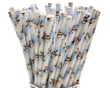 Load image into Gallery viewer, Christmas Penguin Paper Straws (6mm x 200mm) - Biodegradable / Eco-Friendly / Food Safe - Intrinsic Paper Straws