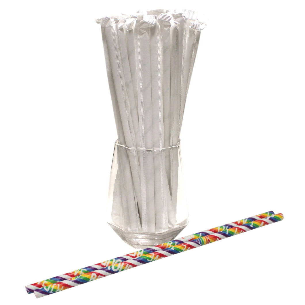 Individually Wrapped Pride Paper Straws (6mm x 200mm) - Biodegradable / Eco-Friendly / Food Safe - Intrinsic Paper Straws