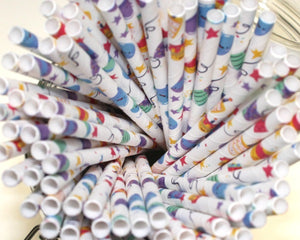 Party Paper Straws (6mm x 200mm) - Biodegradable / Eco-Friendly / Food Safe - Intrinsic Paper Straws