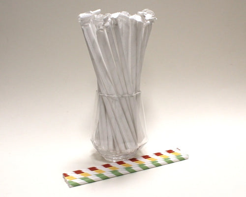 Individually Wrapped Striped Paper Straws - Traffic Light Colours (6mm x 200mm) - Biodegradable / Eco-Friendly / Food Safe - Intrinsic Paper Straws