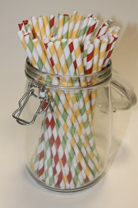 Kraft Wrapped Striped Paper Straws - Traffic Light Colours (6mm x 200mm) - Biodegradable / Eco-Friendly / Food Safe - Intrinsic Paper Straws