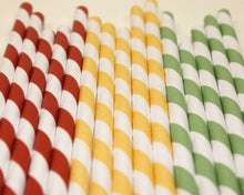 Load image into Gallery viewer, Kraft Wrapped Striped Paper Straws - Traffic Light Colours (6mm x 200mm) - Biodegradable / Eco-Friendly / Food Safe - Intrinsic Paper Straws