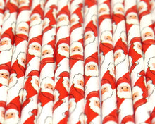 Load image into Gallery viewer, Santa Paper Straws (6mm x 200mm) - Biodegradable / Eco-Friendly / Food Safe - Intrinsic Paper Straws