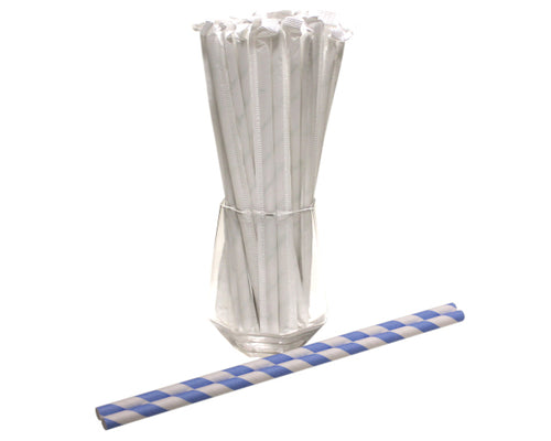 Individually Wrapped Blue & White Striped Paper Straws (6mm x 200mm) - Biodegradable / Eco-Friendly / Food Safe - Intrinsic Paper Straws