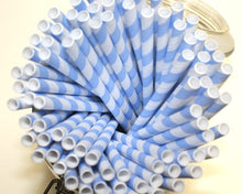 Load image into Gallery viewer, Individually Wrapped Blue & White Striped Paper Straws (6mm x 200mm) - Biodegradable / Eco-Friendly / Food Safe - Intrinsic Paper Straws