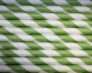 Individually Wrapped Green & White Striped Paper Straws (6mm x 200mm) - Biodegradable / Eco-Friendly / Food Safe - Intrinsic Paper Straws