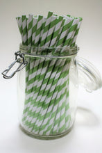 Load image into Gallery viewer, Individually Wrapped Green & White Striped Paper Straws (6mm x 200mm) - Biodegradable / Eco-Friendly / Food Safe - Intrinsic Paper Straws