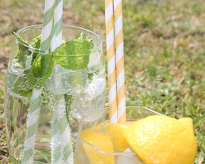 Green & White Striped Paper Straws (6mm x 200mm) - Biodegradable / Eco-Friendly / Food Safe - Intrinsic Paper Straws