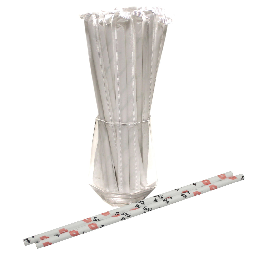 Individually Wrapped Suck Me Paper Straws (6mm x 200mm) - Biodegradable / Eco-Friendly / Food Safe - Intrinsic Paper Straws