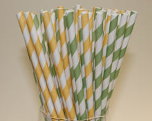 Load image into Gallery viewer, Striped Paper Straws - Lemon and Lime Colours (6mm x 200mm) - Biodegradable / Eco-Friendly / Food Safe - Intrinsic Paper Straws