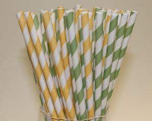 Striped Paper Straws - Lemon and Lime Colours (6mm x 200mm) - Biodegradable / Eco-Friendly / Food Safe - Intrinsic Paper Straws