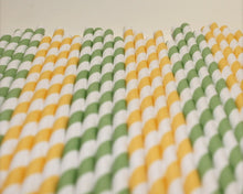 Load image into Gallery viewer, Striped Paper Straws - Lemon and Lime Colours (6mm x 200mm) - Intrinsic Paper Straws
