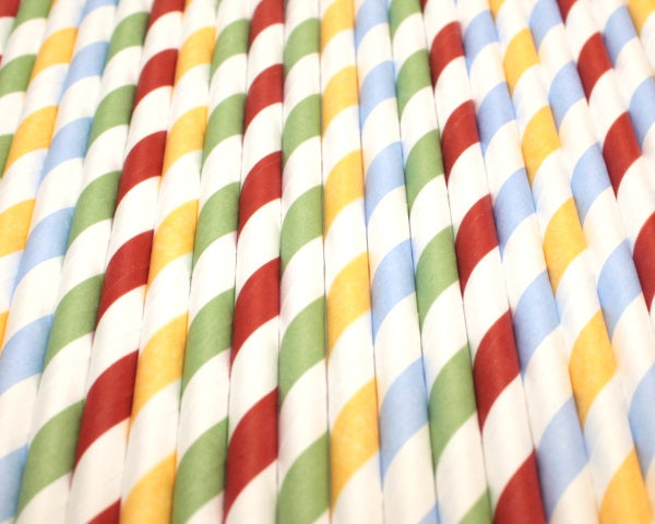Striped Paper Straws - Mixed Colours (6mm x 200mm) - Biodegradable / Eco-Friendly / Food Safe - Intrinsic Paper Straws
