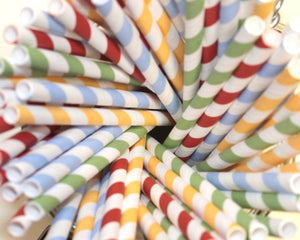 Striped Paper Straws - Mixed Colours (6mm x 200mm) - Intrinsic Paper Straws