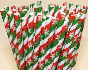 Snowflake Paper Straws (6mm x 200mm) - Biodegradable / Eco-Friendly / Food Safe - Intrinsic Paper Straws
