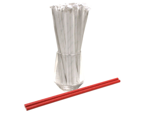 Individually Wrapped Red Paper Straws (6mm x 200mm) - Biodegradable / Eco-Friendly / Food Safe - Intrinsic Paper Straws