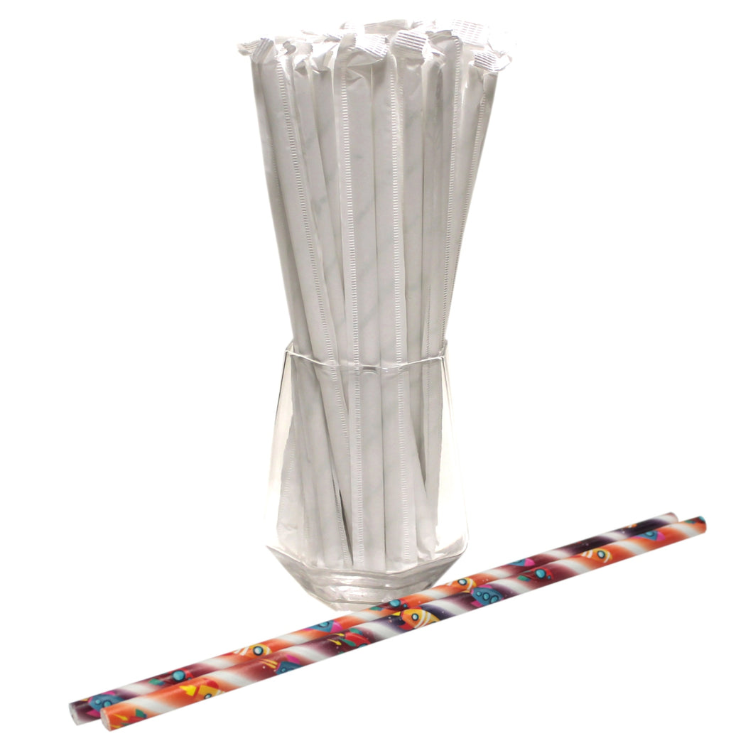 Individually Wrapped Space Rockets Paper Straws (6mm x 200mm) - Intrinsic Paper Straws
