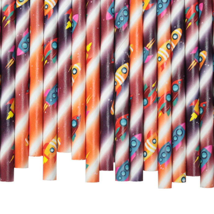 Space Rockets Paper Straws (6mm x 200mm)