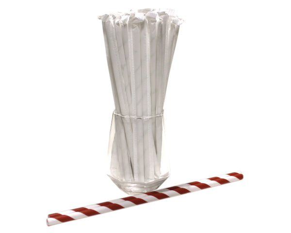 Individually Wrapped Red & White Striped Paper Straws (6mm x 200mm) - Biodegradable / Eco-Friendly / Food Safe - Intrinsic Paper Straws