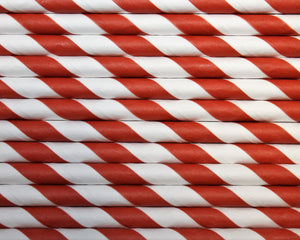 Kraft Wrapped Red & White Striped Paper Straws (6mm x 200mm) - Biodegradable / Eco-Friendly / Food Safe - Intrinsic Paper Straws
