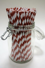 Load image into Gallery viewer, Individually Wrapped Red & White Striped Paper Straws (6mm x 200mm) - Intrinsic Paper Straws