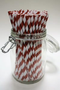 Individually Wrapped Red & White Striped Paper Straws (6mm x 200mm) - Intrinsic Paper Straws