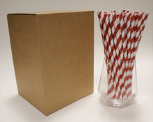 Load image into Gallery viewer, Red & White Striped Paper Straws (6mm x 200mm) - Biodegradable / Eco-Friendly / Food Safe - Intrinsic Paper Straws