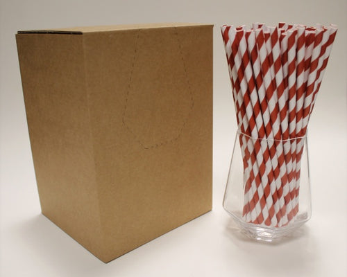 Red & White Striped Paper Straws (6mm x 200mm) - Biodegradable / Eco-Friendly / Food Safe - Intrinsic Paper Straws