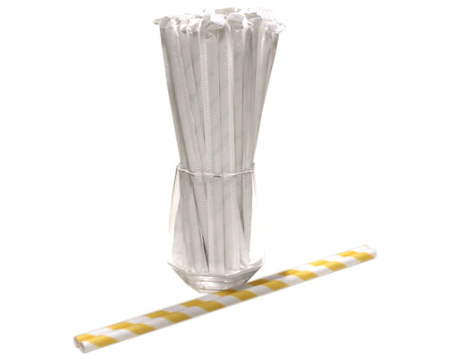 Individually Wrapped Yellow & White Striped Paper Straws (6mm x 200mm) - Biodegradable / Eco-Friendly / Food Safe - Intrinsic Paper Straws