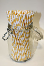 Load image into Gallery viewer, Kraft Wrapped Yellow & White Striped Paper Straws (6mm x 200mm) - Biodegradable / Eco-Friendly / Food Safe - Intrinsic Paper Straws