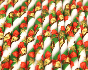 Traditional Christmas Paper Straws (6mm x 200mm) - Biodegradable / Eco-Friendly / Food Safe - Intrinsic Paper Straws