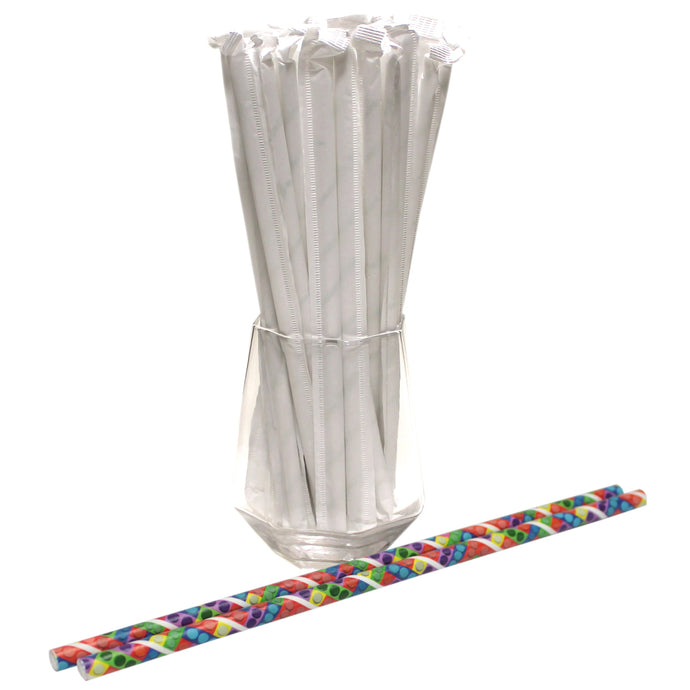 Individually Wrapped Toy Bricks Paper Straws (6mm x 200mm) - Biodegradable / Eco-Friendly / Food Safe - Intrinsic Paper Straws