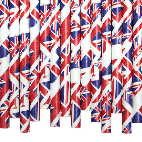 Union Flag Paper Straws (6mm x 200mm) - Biodegradable / Eco-Friendly / Food Safe - Intrinsic Paper Straws
