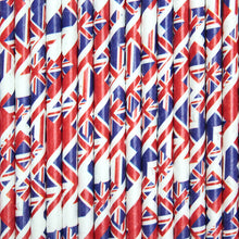 Load image into Gallery viewer, Union Flag Paper Straws (6mm x 200mm) - Intrinsic Paper Straws