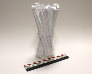 Individually Wrapped Striped Paper Straws - Watermelon Colours (6mm x 200mm) - Biodegradable / Eco-Friendly / Food Safe - Intrinsic Paper Straws