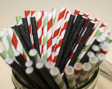 Load image into Gallery viewer, Striped Paper Straws - Watermelon Colours (6mm x 200mm) - Biodegradable / Eco-Friendly / Food Safe - Intrinsic Paper Straws