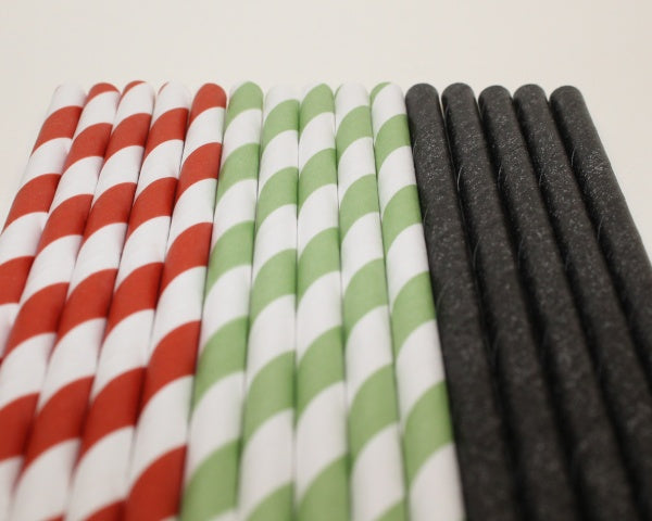 Striped Paper Straws - Watermelon Colours (6mm x 200mm) - Biodegradable / Eco-Friendly / Food Safe - Intrinsic Paper Straws