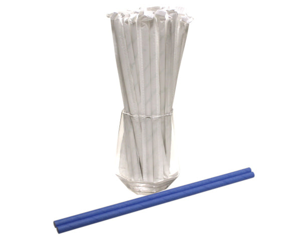 Individually Wrapped Blue Paper Straws (6mm x 200mm) - Biodegradable / Eco-Friendly / Food Safe - Intrinsic Paper Straws