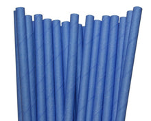 Load image into Gallery viewer, Individually Wrapped Blue Paper Straws (6mm x 200mm) - Intrinsic Paper Straws