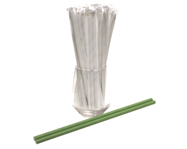 Individually Wrapped Green Paper Straws (6mm x 200mm) - Biodegradable / Eco-Friendly / Food Safe - Intrinsic Paper Straws